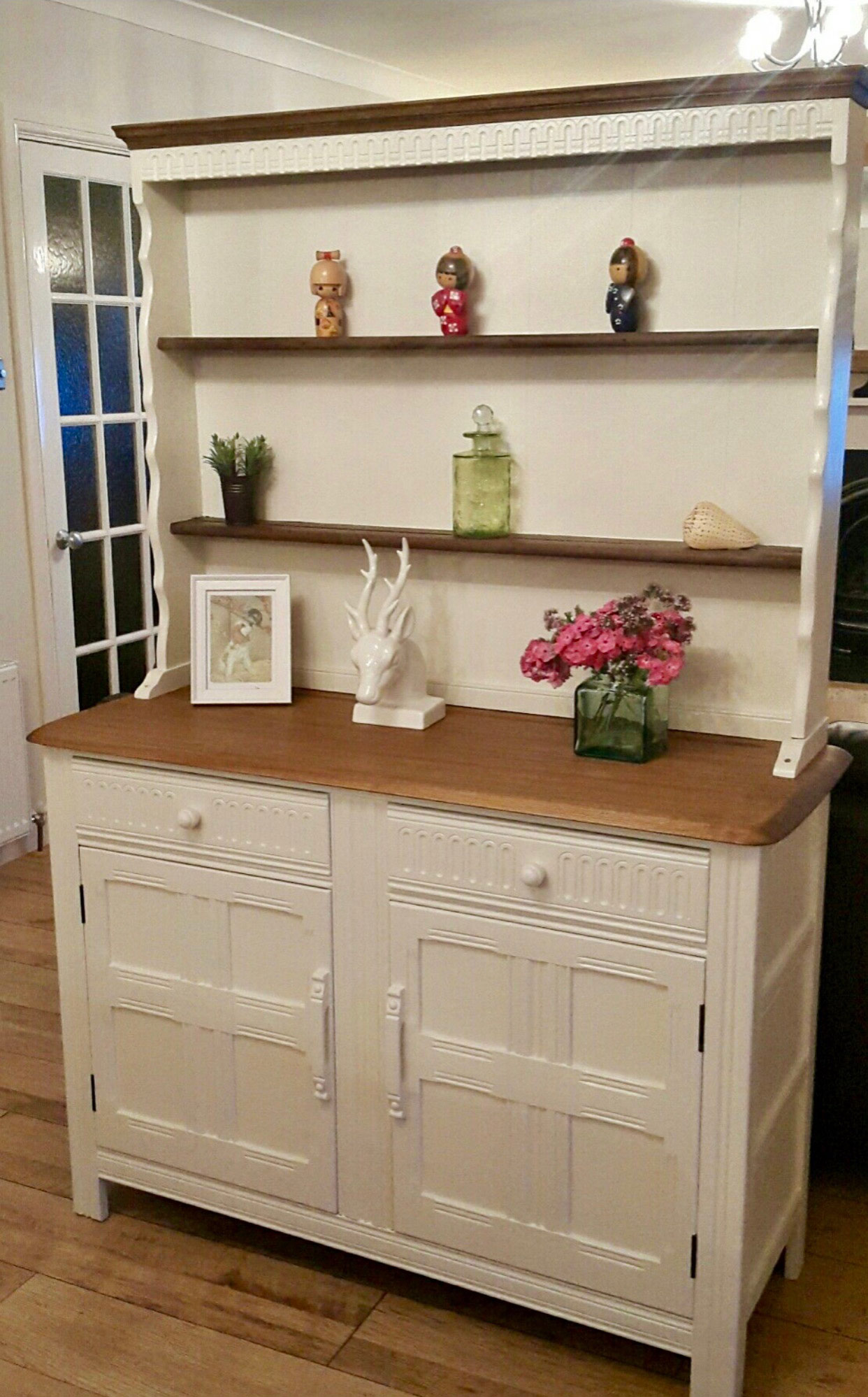 Wooden and white cabinet with shelves